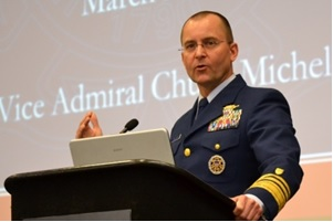 "US Coast Guard Vice Adm. Chuck Michel says ""we are incredibly challenged"" to develop a workforce that can recognize and deal with maritime cyber security threats."