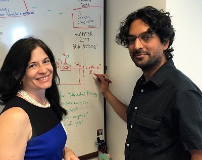 Rutgers University faculty Rebecca Wright and Anand D. Sarwate, seen here at their university offices, have received a federal grant to study how the privacy rights of individuals can be protected when big data is analyzed. Photo credit: Christopher Biddle