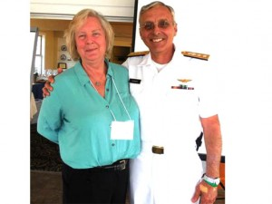 CCICADA Education Director Midge Cozzens at Reconnect 2014 with Rear Admiral Richard Gurnon, host of the event and president of the Massachusetts Maritime Academy.