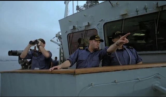 Canadian Navy Commander Peter R. Crain is seen here on his ship the HMCS Athabaskan in a trailer for the movie Rescue 3D.