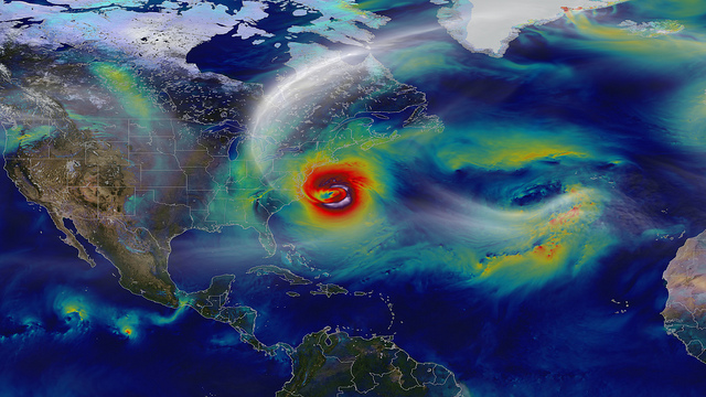 Satellite view of Hurricane Sandy taken by the Goddard Space Center October 2012.
