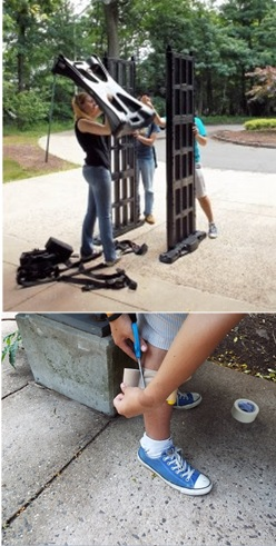 (Top) Students and their mentor Christie Nelson (left) assemble a walkthrough metal detector outside CCICADA's offices at Rutgers University. (Bottom) An undergraduate research student tapes an object to his leg in preparation for a test of the walkthrough metal detector. Photo credit: James Wojtowicz, CCICADA