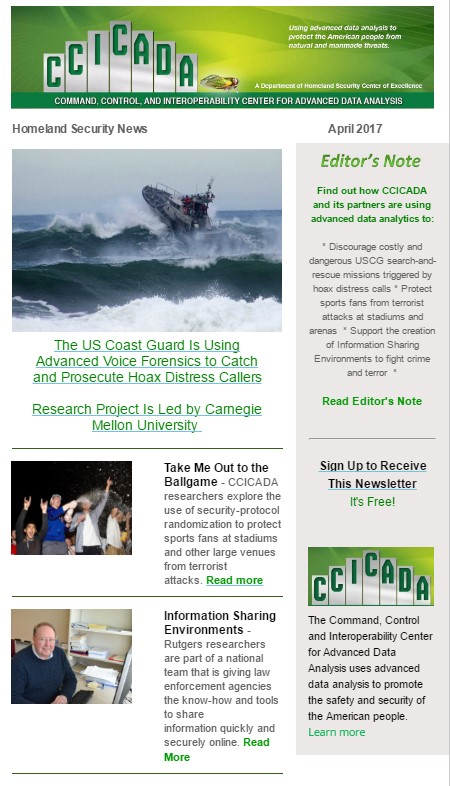 Read the CCICADA Homeland Security Newsletter